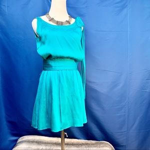 Alice + Olivia silk turquoise skater dress size S